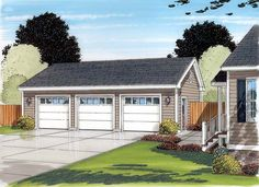 Country Ranch Traditional Garage Plan 30002