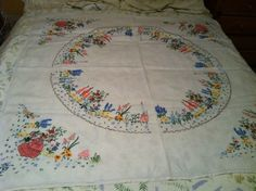 Vintage Hand Embroidered Table Cloth with Crinoline Ladies | eBay