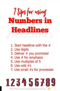 7 tips for using numbers in headlines with Word Wise at Nonprofit Copywriter #WritingTips #FreelanceWriting #ContentWriting Easy Writing, Article Writing, Blog Writing, Writing Tips, Writing Websites, Blog Websites, Writing Resources, Content Analysis, Marketing Guru
