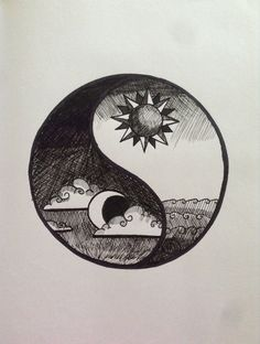 October Pen Drawing/ Yin Yang made from black fineliners. Sun and Moon represent the two halves that balance and depend on each other. Neither one can exist without the other. Also while the Sun is there during the day the Moon appears during the night. Cool Art Drawings, Pencil Art Drawings, Art Drawings Sketches, Easy Drawings, Tattoo Drawings, Tattoo Art, Drawing Ideas, Yin Yang Tattoos, Tatuajes Yin Yang