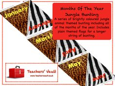 Months Of The Year Jungle Bunting - EYFS, KS1, KS2 Themed Classroom Displays
