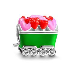 Soufeel Colorful Train Car With Red Pink Heart Charm 925 Sterling Silver Charms Fit European Bracelet * Check out this great product.