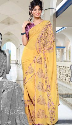 Get Online Traditional Ethnic Yellow Georgette #PrintedSaree with Various Designs and Colors.  #Price INR- 1270 Link- http://alturl.com/g64sx