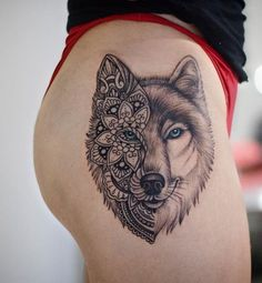 For Body Tattoo Designs Enthusiasts Absolutely No Area is Off Limits. Sleeve Tattoo Designs and Lower Back Tattoo Designs for women are. Wolf Tattoos For Women, Unique Tattoos For Women, Tattoo Designs For Women, Thigh Tattoos For Girls, Female Leg Tattoos, Mandala Tattoos For Women, Unique Animal Tattoos, Badass Tattoos, Cute Tattoos
