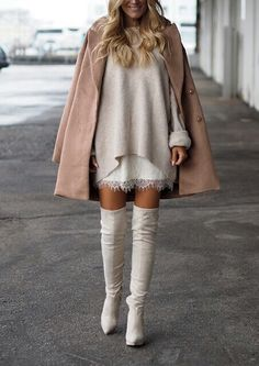 "glamblack: "" •  Sweater >> •  Coat >> •  Boots >> """