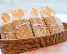 Wooden utensil Kit with kraft paper polka dot bitty bags
