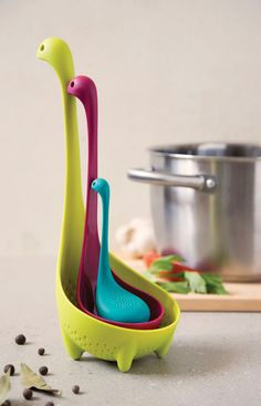 he Nessie Family is a collection of 3 gadgets into one cute looking package which resembles the shape of the Loch Ness Monster. It consists of a Colander Spoon for use when cooking food, a cute little Tea Infuser when you want to relax and also a Ladle fo Cafe Themed Kitchen, Kitchen Themes, Kitchen Supplies, Kitchen Decor, Kitchen Tools, Kitchen Dining, Kitchen Ideas, Cool Kitchen Gadgets, Home Gadgets