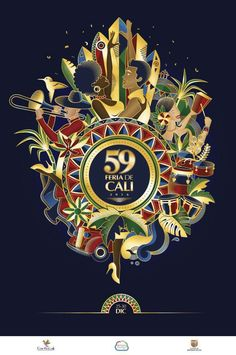 Affiche 59 feria de Cali Cali Colombia, Crests, Playing Cards, Vibrant, Movies, Movie Posters, Plaza, Design, Art