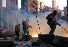 The September 11 Digital Archive: Saving the Histories of September 11, 2001.   Photo caption: Members of Ironworkers Local 40 helping clean up the World Trade Center site in late 2001.