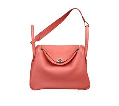 "Lindy 30 Hermes bag in flamingo pink evercolor calfskin Measures 12""x 7.5"" x 6.5"". Shoulder strap and handstrap. Silver and palladium plated hardware Color : flamingo"