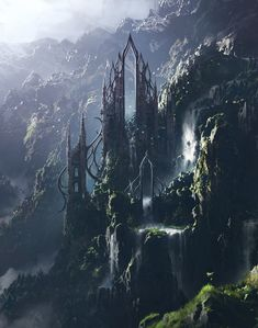 68 Ideas For Fantasy Landscape Castles Scenery Fantasy City, Fantasy Castle, Fantasy Places, Fantasy World, Dark Fantasy, Dream Fantasy, Fantasy Concept Art, Fantasy Artwork, Fantasy Art Landscapes