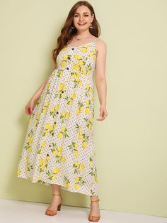 To find out about the Plus Lemon & Polka Dot Print Button Front Cami Dress at SHEIN, part of our latest Plus Size Dresses ready to shop online today! Dress Out, Tee Dress, Belted Dress, Striped Dress, Wedding Dresses Plus Size, Plus Size Dresses, Plus Size Outfits, Boho, Side Split Dress