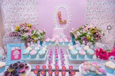 Pretty dessert table at a shabby chic birthday party! See more party ideas at CatchMyParty.com!