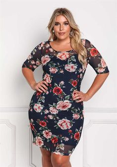 Plus Size Mesh Rose Bodycon Dress