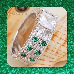 ‼️FLASH SALE WAS $39 Emerald & Topaz .925 Silver New Emerald & White Topaz Ring 2 In 1 Ring Sz 7 Size: 7 Style: 2 Rings Together As 1 Very unique style Metal: .925 Silver Glam Squad 2 You Jewelry Rings