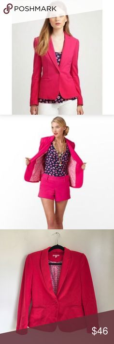 Lilly Pulitzer Passion Pink Leighton Blazer Gorgeous hot pink Blazer by Lilly Pulitzer featuring a notched collar and single button closure. Back vent and fully lined. Very good used condition. No major flaws but it HAS been worn. Some light pilling throughout, easily removable. Size small. Lilly Pulitzer Jackets & Coats Blazers