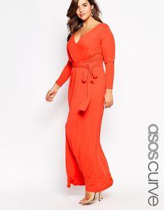 89ba42111d2 Image 1 of ASOS CURVE Maxi Dress With Tie Front Curve Maxi Dresses