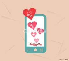 valentine day with phone message of love