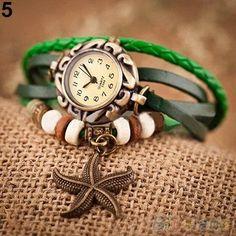 Hot Woman Girl Vintage Leather Bracelet watches Starfish Decoration Quartz Wrist Watch 4ZXC