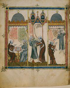 Llull amb el seu esclau musulmà. Raimundus Lullus, Thomas le Myésier: Electorium parvum seu breviculum (after 1321)  Badische Landesbibliothek, Cod. St. Peter perg #massin