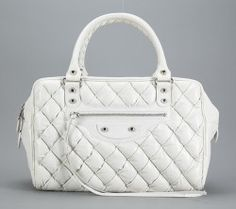 Balenciaga White Quilted Leather Matelasse Bag