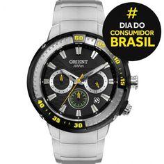 Ricardo Eletro Relógio Masculino Orient Cronógrafo, Pulseira de Aço, Resistência a Água 100 Metros - R$ 256,40