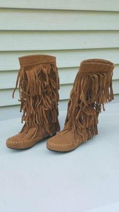 e7ab05e2911c NWT MUDD Adriana Tall Faux Suede Fringe Boho Winter Boots Size 6 13.25