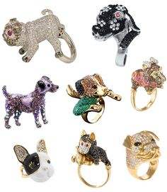 dog cocktail rings. I like the bulldog lower left from Betsey Johnson