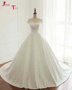 Jark Tozr 2017 Custom Made Matrimonio Short Sleeve Zipper Up Back Gorgeous  Ball Gown Wedding Dresses 61992f161c29