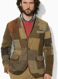 Polo Ralph Lauren Brown Tweed Patchwork Sport Coat