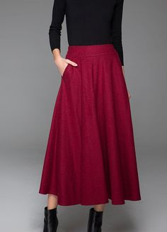 Red Wool Skirt - Classic Smart Elegant Winter Warm Maxi Long Woman's Skirt in Wine Red with Pockets (1435)