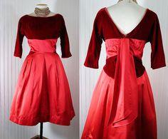 1950s Dress Vintage FIVE ALARM FIRE Red Satin
