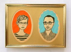 custom+midcentury+style+couple+portrait+by+JordanGraceOwens,+$150.00
