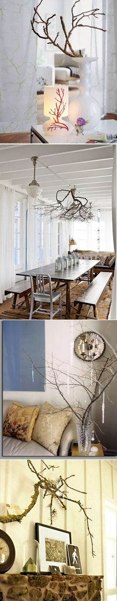 I love the table and long benches:)  DIY interior with tree branches