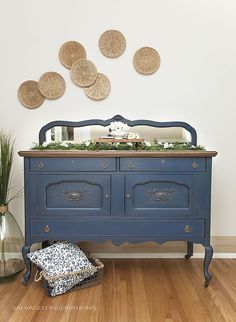 Blue Painted UpStyled Vintage Buffet - Salvaged SideBoard   I love bringing these old uncared for pieces back to life!   Salvaged Inspirations