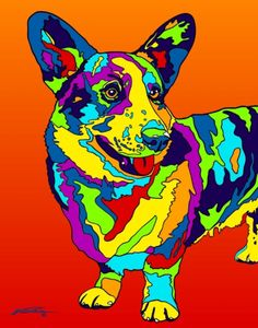 Multi-Color Corgi Dog Matted Prints & Canvas Giclées. Hand painted and printed in USA by the artist Michael Vistia. Dog Breed: The Pembroke Welsh Corgi is a cattle herding dog breed which originated i