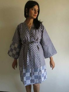 Knee length Robe Style Made From RR1 Fabric Pattern