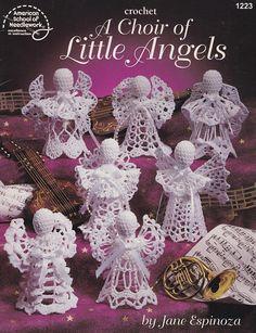 A choir of Little Angels Crochet lace pattern Crochet angels Angels lace pattern pdf file Crochet Angel Pattern, Crochet Angels, Crochet Patterns, Crochet Books, Thread Crochet, Crochet Lace, Christmas Angels, Christmas Crafts, Christmas Ornaments