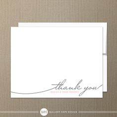 Handwriting Simplicity Modern Personalized Stationery Thank You Card with Envelope - Customize with Name or Monogram on Etsy, $24.00