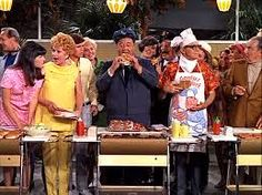 """A shot from the """"Here's Lucy"""" show. Lucy is at Jack Benny's house and he is having a Barbecue. A tour bus full of tourists come in which Jack charges for a tour and the bus driver is hungry(Jackie Gleason) and he comes to eat some hamburgers."""