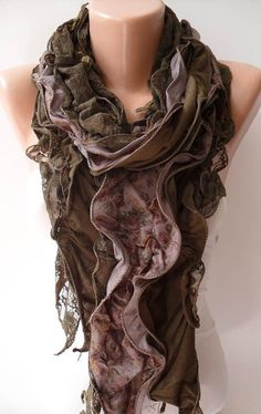 Green Lace and Cotton Scarf - Special Design