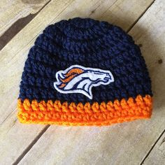 Denver Broncos Football hat Crochet Cap with Patch by KaityBraedy