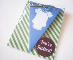 Cards Inspired - Baby Boy Shower Pennant Invitation | Cards Inspired