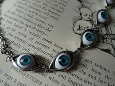 Eye Ball Necklace Alien Eye Halloween Choker Vintage Style Antique Silver Blue Human Eyes PeculiarCollective Creepy Inv0034 by PeculiarCollective on Etsy