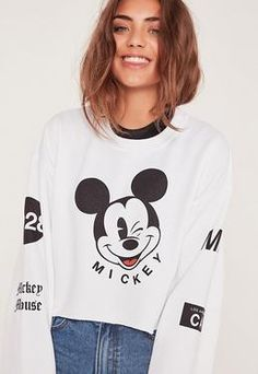 Wink Mickey Mouse Cropped Sweatshirt White