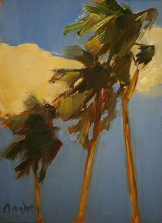 """Daily Paintworks - """"Three Palm Trees"""" - Original Fine Art for Sale - © Angela Ooghe Landscape Art, Landscape Paintings, Illustrations, Illustration Art, Tropical Art, Paintings I Love, Fine Art Gallery, Tree Art, Painting & Drawing"""