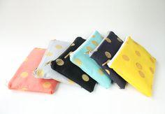 SALE Metallic Gold Dot Zipper Clutch Bag Choose by allisajacobs