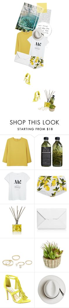 """""""I wish the rain was yellow"""" by cloudmaker ❤ liked on Polyvore featuring Oris, MANGO, AMBRE, Dolce&Gabbana, Orla Kiely, J.W. Anderson, Jeweliq, Allstate Floral, Madden Girl and Calypso Private Label"""