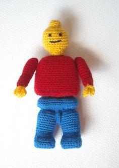 lego man by biribis @ etsy Crochet Lego, Crochet Skull, Crochet Dolls, Crochet Baby, Free Crochet, Amigurumi Toys, Amigurumi Patterns, Crochet Patterns, Crochet Ideas