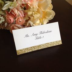 Glitter Wedding Place Cards - Super easy to make - Glitter tape, or even DIY w/ double side tape and your own glitter